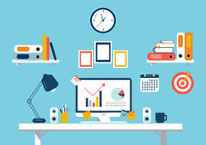 Set of flat design elements, illustration of workspace. Vector Royalty Free Stock Photos