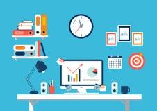 Set of flat design elements, illustration of workspace. Vector Royalty Free Stock Images