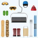 Set of flat design elements on winter sport theme Stock Photo