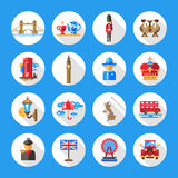 Set of flat design England travel icons Royalty Free Stock Images