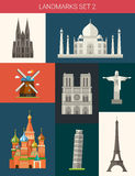 Set of flat design famous world landmarks icons Royalty Free Stock Image