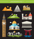 Set of flat design famous world landmarks icons Stock Photos