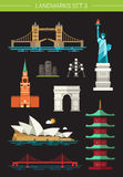 Set of flat design famous world landmarks icons Stock Image