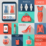Set of flat design fashion icon Stock Image