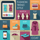Set of flat design fashion iconation Royalty Free Stock Images