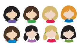 Set flat design of female avatars - head with hair without face,. With different hair styles and hair color - vector, usable for web or social networks stock illustration