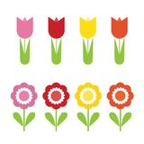 Set of flat design flowers of different colors, isolated vector. Set of flat design flowers of different colors, vector isolated on white background Royalty Free Stock Image
