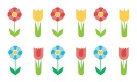 Set of flat design flowers of different colors, vector. On white background Royalty Free Stock Images