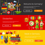 Set of flat design flyers, headers with Germany Stock Image