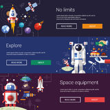 Set of flat design flyers and headers with space Stock Photo