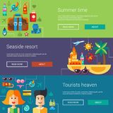 Set of flat design flyers, headers with summer Royalty Free Stock Images
