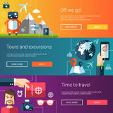 Set of flat design flyers and headers with travel Royalty Free Stock Photo