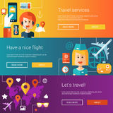 Set of flat design flyers and headers with travel Royalty Free Stock Images