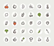 Set of flat design fruit and vegetables icons. Set of vector flat design fruit and vegetables icons Royalty Free Stock Photo