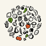 Set of flat design fruit and vegetables icons Stock Image