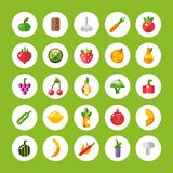 Set of flat design fruits and vegetables icons Royalty Free Stock Images