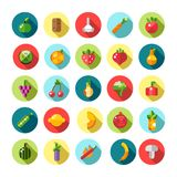 Set of flat design fruits and vegetables icons Royalty Free Stock Photo