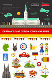 Set of flat design Germany travel icons Royalty Free Stock Photography