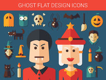 Set of flat design ghost icons Stock Photography