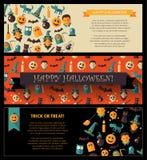 Set of flat design Halloween card templates Stock Image