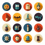 Set of flat design Halloween icons Stock Image