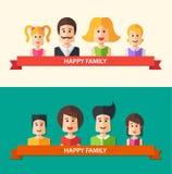 Set of  flat design happy family icon Stock Image