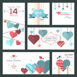 Set of flat design Happy Valentine Day greeting cards and banners. The set can be used for several purposes like: websites banners and badges, printed Royalty Free Illustration