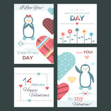 Set of flat design Happy Valentine Day greeting cards and banners stock illustration