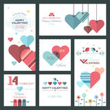 Set of flat design Happy Valentine Day greeting cards and banners. The set can be used for several purposes like: websites banners and badges, printed Stock Illustration
