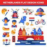 Set of flat design Holland travel icons Stock Photo
