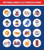 Set of flat design Holland travel icons Royalty Free Stock Image