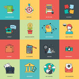 Set of flat design icons for business and management. Icons for website development and mobile phone services and apps. Thin line icon set Royalty Free Stock Photos