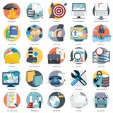 Set of flat design icons for business, pay per click, creative process, searching, web analysis, time is money, on line shopping. Icons for website development Royalty Free Stock Images
