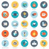 Set of flat design icons for business, pay per click, creative process, searching, web analysis, time is money, on line shopping. Icons for website development Stock Photo