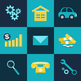 Set of flat design icons for Business. Vector set of flat design icons for Business Royalty Free Stock Photo