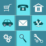 Set of flat design icons for Business. Vector set of flat design icons for Business Stock Photos