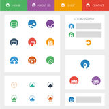 Set of flat design icons in colorful bars for Royalty Free Stock Image