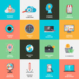 Set of flat design icons concept for marketing Stock Photography