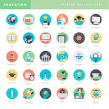 Set of flat design icons for education Royalty Free Stock Photo