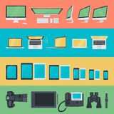 Set of flat design icons of electronic devices Stock Images