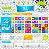 Set of Flat Design Icons, Elements, Widgets and Me. Nus. Website Design Templates Stock Photography