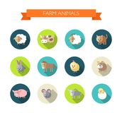 Set of flat design icons with farm animals Royalty Free Stock Images