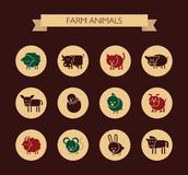 Set of flat design icons with farm animals Stock Image