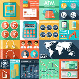 Set of flat design icons. With financial infographics. vector illustration Stock Images