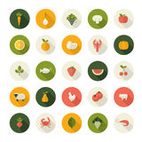 Set of flat design icons for food and drink