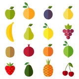 Set of flat design icons for fruits Stock Images