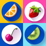 Set of flat design icons for fruits Royalty Free Stock Photography