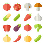 Set of flat design icons for fruits and vegetables Royalty Free Stock Images