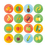 Set of flat design icons for fruits and vegetables. Stock Photos