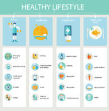 Set of flat design icons for healthy lifestyle. royalty free illustration